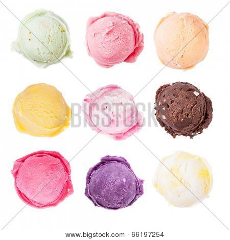 Studio shot of isolated ice cream scoops on white background