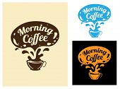 foto of latte coffee  - Morning coffee icon with fresh hot espresso coffee splashing out of a cup with a speech bubble above with the text  - JPG