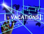 stock photo of sabbatical  - Vacations Screen Meaning Internet Planning or Worldwide Vacation Travel - JPG