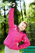 pic of mongolian  - Mongolian woman during morning jogging in the park - JPG