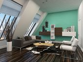 foto of lounge room  - Modern living room interior with sloping windows and ceiling and a green accent wall with parquet floors and a comfortable contemporary lounge furniture - JPG