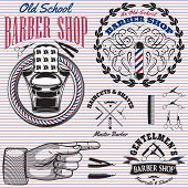 pic of barber razor  - set of vector icons on a theme barber shop - JPG