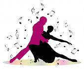 pic of tango  - Tango dancers and musical notes on white background - JPG