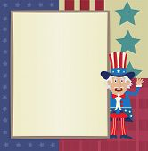 image of uncle  - Decorative blank banner with Uncle Sam standing next to it - JPG