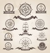 stock photo of old boat  - Vintage nautical marine label set - JPG