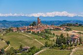 picture of snowy hill  - Small town on the hill surrounded by green vineyards and mountains with snowy peaks on background in Piedmont - JPG