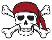 stock photo of skull cross bones  - Pirate Skull vector illustration on white background - JPG