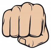image of punch  - human fist punching vector illustration on white background - JPG