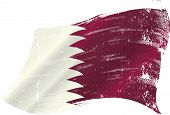 stock photo of qatar  - waving Qatar grunge flag - JPG