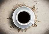 stock photo of interior sketch  - Conceptual image of cup of coffee against sketch background - JPG