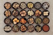 pic of ginseng  - Large traditional chinese herbal medicine selection in wooden bowls - JPG