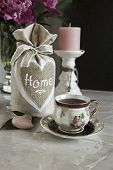 picture of pompous  - bouquet of peonies on the table tea break - JPG