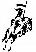 pic of knights  - medieval knight with a heraldic unicorn shield riding horse and holding banner  - JPG