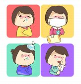 stock photo of snot  - Four of character cartoon have a cold fever and sneezing - JPG