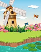 image of barn house  - Illustration of a barn house with a windmill near the river - JPG