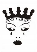 stock photo of stepmother  - Face of an evil queen with crown and tears - JPG