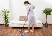 picture of maids  - Portrait Of A Young Maid In Uniform Cleaning Floor With Mop - JPG