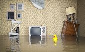 stock photo of hook  - Flooded vintage interior - JPG