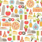 stock photo of venice carnival  - seamless pattern with Italy icons - JPG