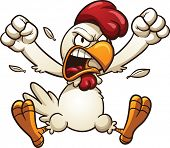 stock photo of angry  - Angry cartoon chicken - JPG