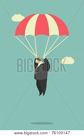 Businessman Parachute Jump