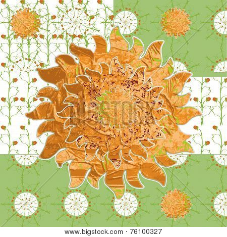 Patterned Picture Simple Spring Sunny Meadow