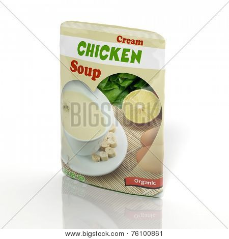 3D Chicken Soup packet isolated on white