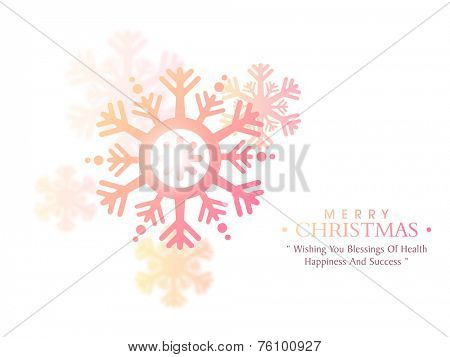 Merry Christmas greeting card with beautiful glossy snowflakes and wishing massage on beige background.