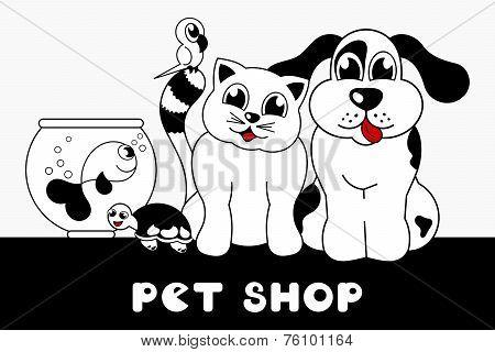 pet shop sign with cartoon animals