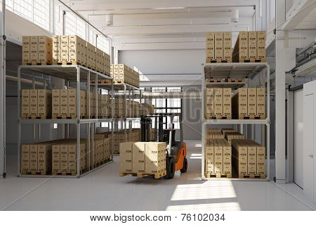Warehouse building with many storage boxes and a forklift (3D Rendering)