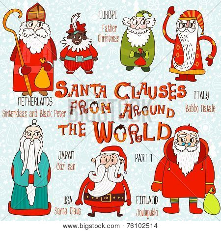 Christmas Set - Santa Clauses From Around The World. Part 1:santa Claus, Joulupukki,odzi-san,babbo N