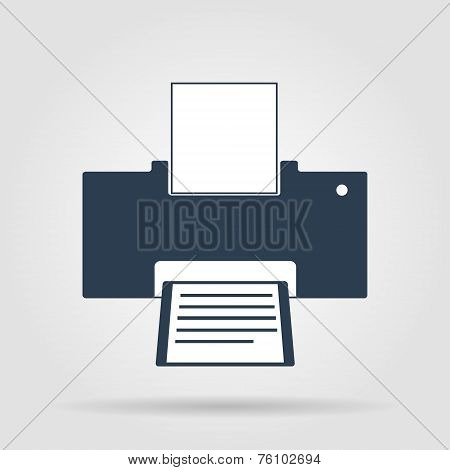 Printer Icon, Vector Illustration. Flat Design Style