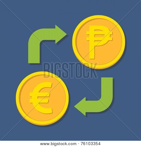 Currency Exchange. Euro And Peso.