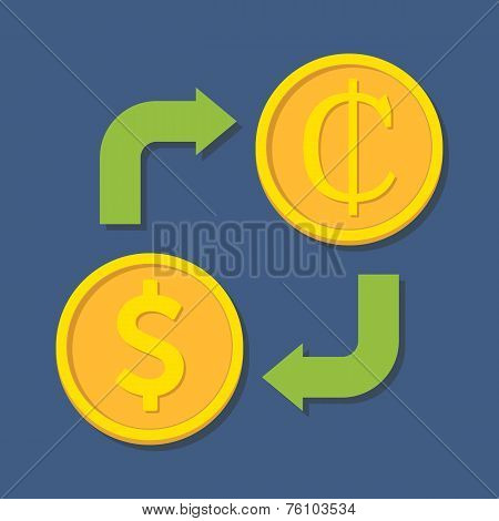 Currency Exchange. Dollar And Cedi.