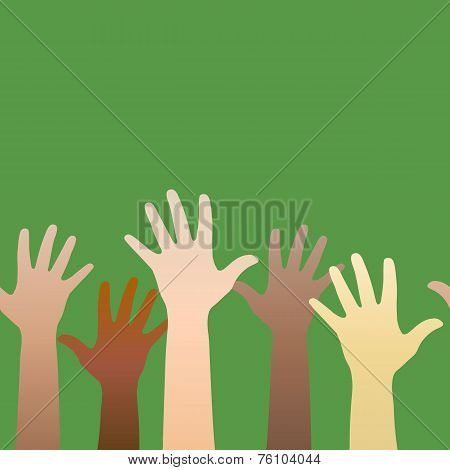 Hands Raised Up. Concept Of Volunteerism, Multi-ethnicity