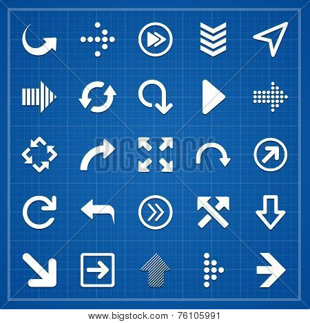Arrow sign pack on blueprint. Vector elements