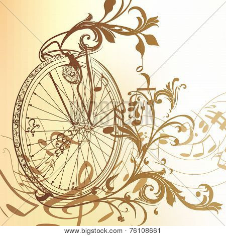 Music Background With Bike Wheel, Notes And Swirls In Vintage Style.ai