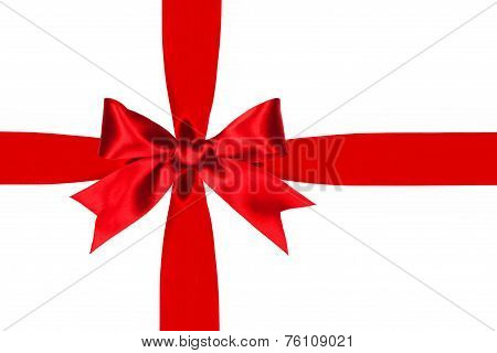 Red gift bow and ribbon isolated
