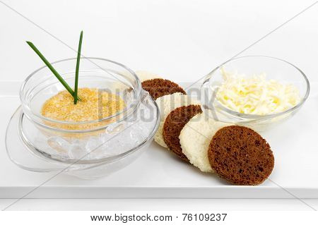 Pike Caviar On Ice With Toast Of Toasted Bread And Butter