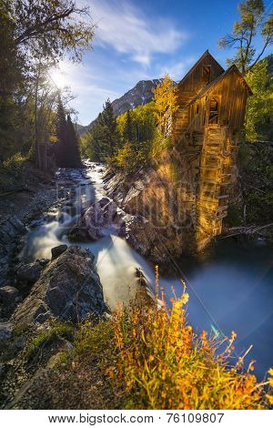 Crystal Mill Colorado Moon Rise Light Painting  Vertical