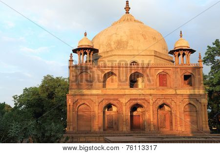five ancient Mughal tombs in a large park allahabad india