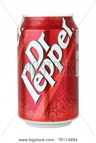 Samara,  Russia, October 22th, 2014. Product shot of  Dr Pepper can isolated on white
