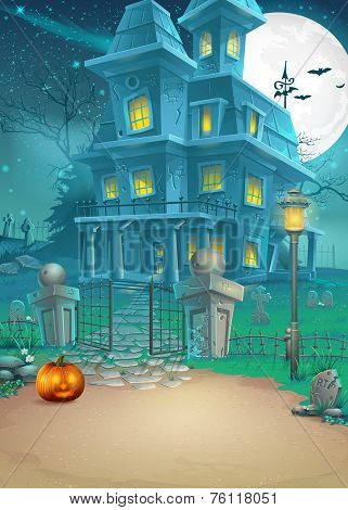 Holiday Card With A Mysterious Halloween Haunted House And Scary Pumpkin