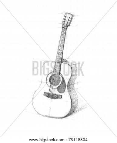 Sketch of guitars on a white background