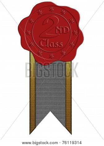 Second Class Red Wax Seal With Ribbon