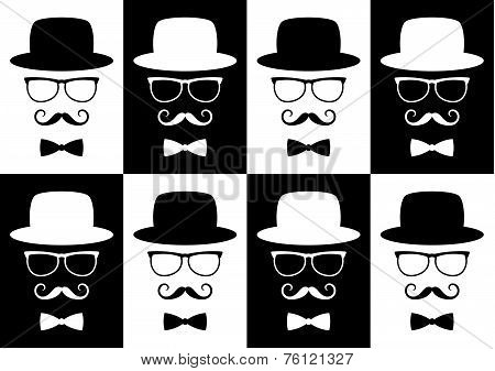 gentleman with glasses seamless pattern