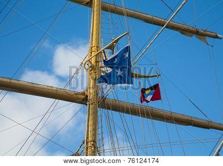 Clipper Mast With Antigua Flag