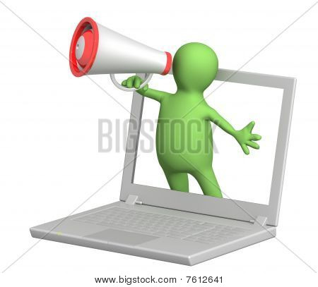 3D Puppet With Laptop And Megaphone