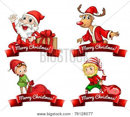 Set of Christmas labels on white