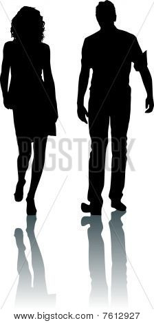 Silhouette fashion woman and man